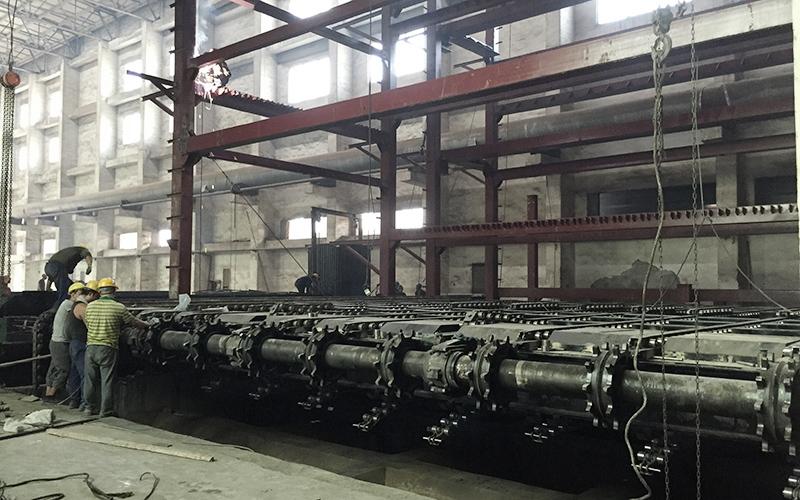Installation site of 4 130 ton crossbeam grates of Shenyang Xiangyun